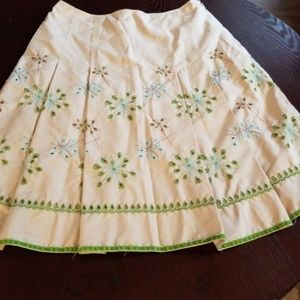 Cynthia Steffe Tan Embroidered Skirt sz 6